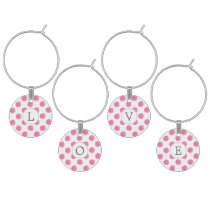 Personalized monogram watercolor pink polka dots wine glass charm