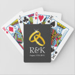 """Personalized Monogram wedding rings playing cards<br><div class=""""desc"""">Personalized Monogram wedding rings playing cards. Romantic design for newlyweds with golden mariage rings. Elegant chic chevron pattern in background. Add name of newly weds / bride and groom. Cute wedding favor. Also great for wedding anniversary party. Shiny bling bling gold rings.</div>"""