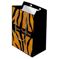 Personalized Monogram Wild Thing Tiger Stripes Medium Gift Bag