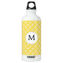 Personalized Monogram Yellow Double Rings Pattern Aluminum Water Bottle
