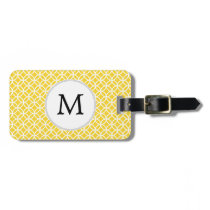 Personalized Monogram Yellow Double Rings Pattern Bag Tag