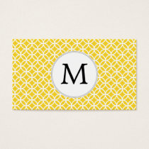 Personalized Monogram Yellow Double Rings Pattern Business Card