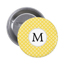 Personalized Monogram Yellow Double Rings Pattern Button