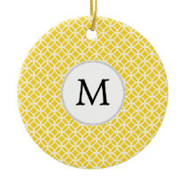 Personalized Monogram Yellow Double Rings Pattern Ceramic Ornament
