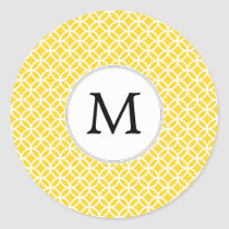 Personalized Monogram Yellow Double Rings Pattern Classic Round Sticker