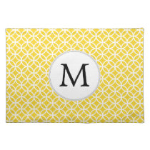 Personalized Monogram Yellow Double Rings Pattern Cloth Placemat