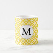 Personalized Monogram Yellow Double Rings Pattern Coffee Mug