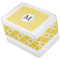 Personalized Monogram Yellow Double Rings pattern Cooler