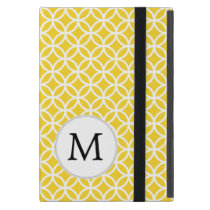Personalized Monogram Yellow Double Rings pattern Covers For iPad Mini