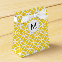 Personalized Monogram Yellow Double Rings Pattern Favor Box