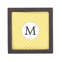 Personalized Monogram Yellow Double Rings Pattern Gift Box