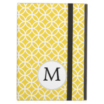 Personalized Monogram Yellow Double Rings Pattern iPad Air Covers