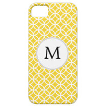 Personalized Monogram Yellow Double Rings Pattern iPhone SE/5/5s Case