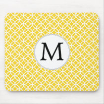 Personalized Monogram Yellow Double Rings Pattern Mouse Pad