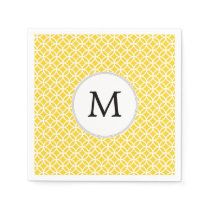 Personalized Monogram Yellow Double Rings Pattern Paper Napkin