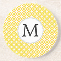 Personalized Monogram Yellow Double Rings Pattern Sandstone Coaster