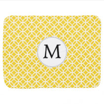 Personalized Monogram Yellow Double Rings Pattern Stroller Blanket