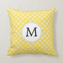 Personalized Monogram Yellow Double Rings Pattern Throw Pillow
