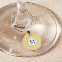 Personalized Monogram Yellow Double Rings Pattern Wine Glass Charm