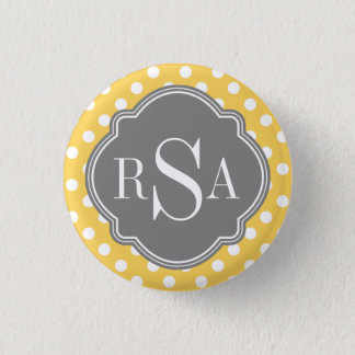 Personalized Monogram Yellow Polka Dots Pattern Button