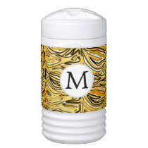 Personalized Monogram Yellow Zebra Stripes Beverage Cooler
