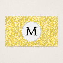 Personalized Monogram Yellow Zebra Stripes pattern Business Card