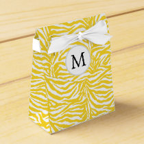 Personalized Monogram Yellow Zebra Stripes pattern Favor Box
