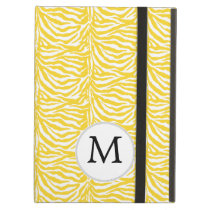 Personalized Monogram Yellow Zebra Stripes pattern iPad Air Covers