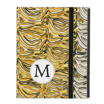 Personalized Monogram Yellow Zebra Stripes pattern iPad Covers