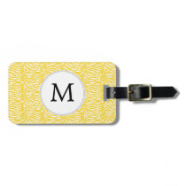 Personalized Monogram Yellow Zebra Stripes pattern Luggage Tag