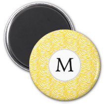 Personalized Monogram Yellow Zebra Stripes pattern Magnet