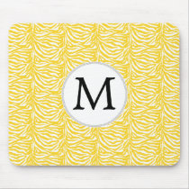 Personalized Monogram Yellow Zebra Stripes pattern Mouse Pad