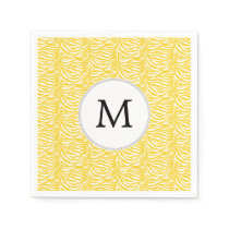 Personalized Monogram Yellow Zebra Stripes pattern Napkin