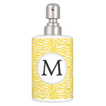 Personalized Monogram Yellow Zebra Stripes pattern Soap Dispenser And Toothbrush Holder