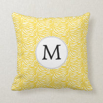 Personalized Monogram Yellow Zebra Stripes pattern Throw Pillow