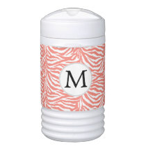 Personalized Monogram zebra stripes coral Cooler