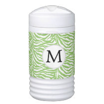 Personalized Monogram zebra stripes green Cooler