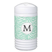 Personalized Monogram zebra stripes mint Beverage Cooler
