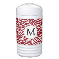 Personalized Monogram zebra stripes red Beverage Cooler