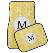 Personalized Monogram zebra stripes yellow Car Floor Mat