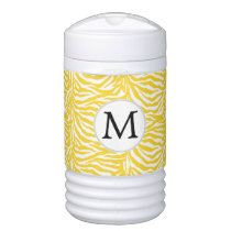Personalized Monogram zebra stripes yellow Cooler