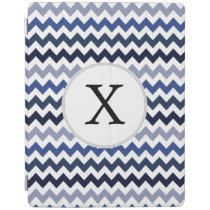 Personalized Monogram zigzag blue iPad Smart Cover