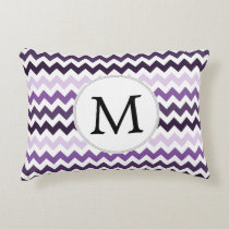 Personalized Monogram zigzag purple and White Accent Pillow