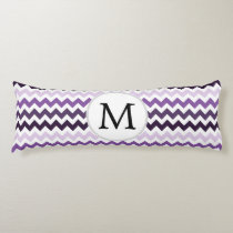Personalized Monogram zigzag purple and White Body Pillow