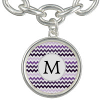 Personalized Monogram zigzag purple and White Bracelet