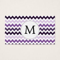 Personalized Monogram zigzag purple and White Business Card