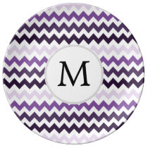 Personalized Monogram zigzag purple and White Dinner Plate