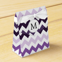 Personalized Monogram zigzag purple and White Favor Box