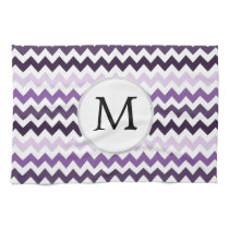 Personalized Monogram zigzag purple and White Hand Towels