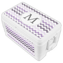 Personalized Monogram zigzag purple and White Ice Chest